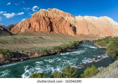 Kekemeren river and colourful rock formations in Tien Shan mountains, Kyrgyzstan