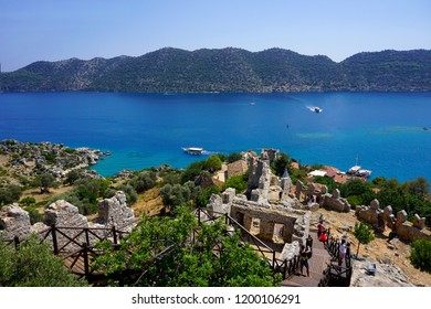 Kekova, Antalya/Turkey-August 31, 2018: The sunken city Kekova is fascinating place for  attracting the tourists in Turkey