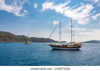 Kekova Gulf view. Kekova is populer tourist destination in Turkey.