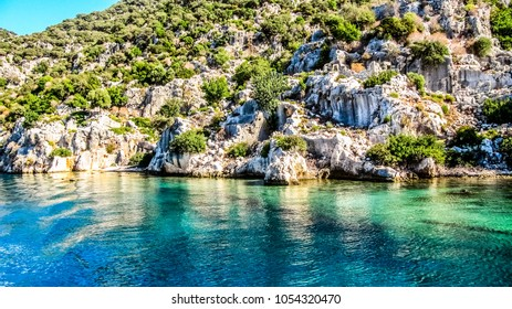 Kekova Island with the remains of the sunken ancient city in the province of Antalya in Turkey