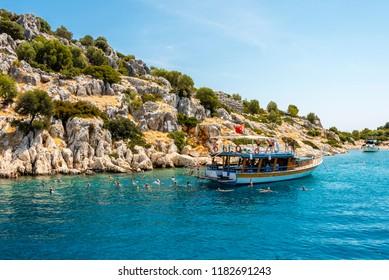 Kekova, Turkey - September 11, 2018 : People are visiting Kekova district by boat in Turkey