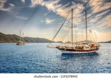 Kekova, Turkey - September 11, 2018 : People are visiting Simena sunken city in Kekova Island of Turkey