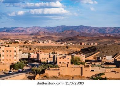 Kelaat Mgouna, Morocco - November 09, 2017: Kelaat Mgouna, Kalaat M'Gouna or El Kelaa M'Gouna village in the Valley of roses in Morocco, Africa