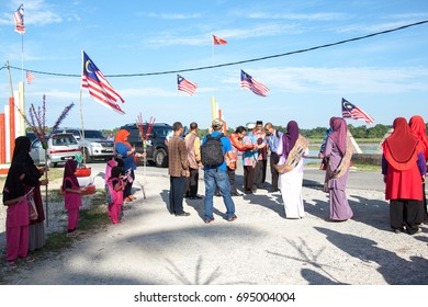 Kelantan, Malaysia - 10 August 2017 ; Malaysian people and leaders celebrating Merdeka month of Malaysia in August.