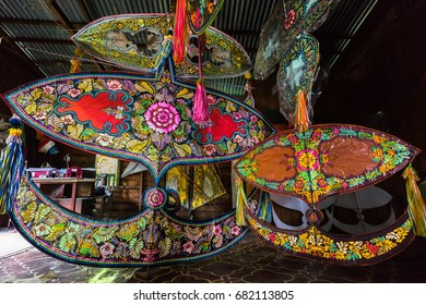 "KELANTAN, MALAYSIA - 15TH JULY 2017; Traditional moon kite or locally known as ""Wau Bulan"" on display at traditional workshop in Kelantan, Malaysia."