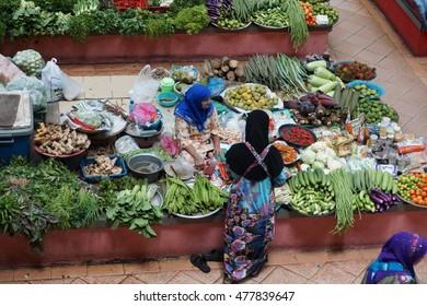 KELANTAN, MALAYSIA - 24 AUGUST 2016: Fresh vegetables in Siti Khadijah Market on August 24, 2016 in Kota Bharu, Kelantan, It is one of the famous tourist spot in Kelantan