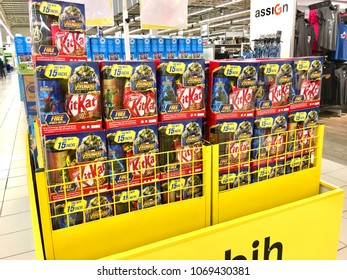 KELANTAN, MALAYSIA - APRIL 16, 2018 : Various KitKat brand chocolates are sold in malls. Among them are biscuit full of chocolate which is packaged with free water container as a gift.