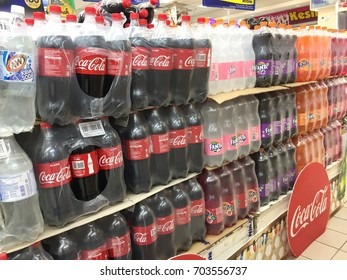 Kelantan, Malaysia - August 21, 2017 : Soft drink with carbonated on shelf at groceries department in Mydin Hypermarket in Kota Bharu. One of the largest hypermarket in Kota Bharu.
