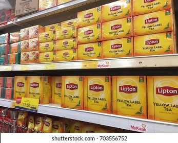 Kelantan, Malaysia - August 21, 2017 : A varieties of tea on shelf for customer selection at Groceries department in Mydin Hypermarket in Kota Bharu. One of the largest hypermarket in Kota Bharu.