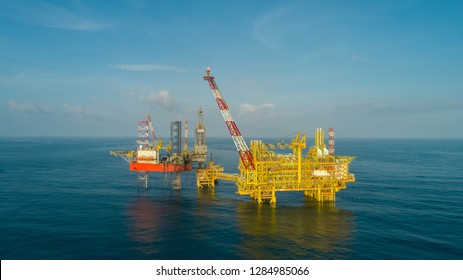 KELANTAN, MALAYSIA - JANUARY 15, 2019: Offshore jack-up drilling rig and gas production platform in Kelantan waters, Malaysia.