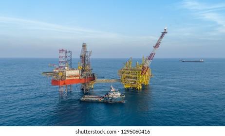 KELANTAN, MALAYSIA - JANUARY 25, 2019: Offshore jack-up drilling rig and gas production platform in Kelantan waters, Malaysia.