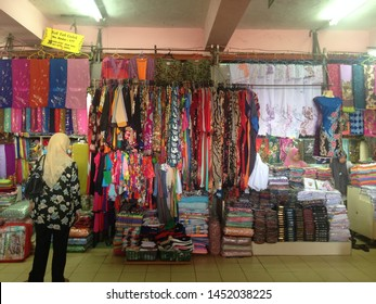 Kelantan, Malaysia- July 15, 2019: Pasar Siti Khadijah located in Kota Bahru Kelantan Malaysia is one of tourist attractive that shows variety of goods selling with best price