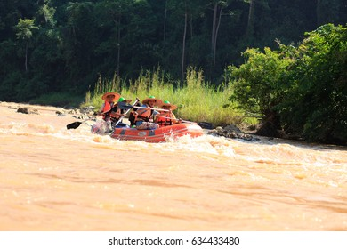 Kelantan, Malaysia, July 2013 - Expedition on the dinghy through Kelantan River which surrounded by tropical forest.