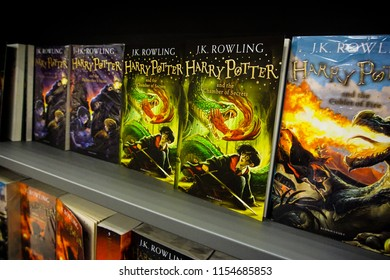 KELANTAN ,MALAYSIA - JULY 21, 2018: Books about Harry Potter in a shop in Windsor. Harry Potter is fictional character created by Joanne K Rowling