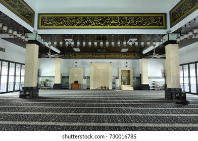 KELANTAN, MALAYSIA -MARCH 30, 2014: Interior of Bunut Payung Mosque. New mosque build with local architectural style with influenced of Islamic geometry and Islamic architectural element.