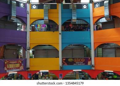 KELANTAN, MALAYSIA - MARCH 31, 2019: The colorful wall in the Pasar Siti Khadijah