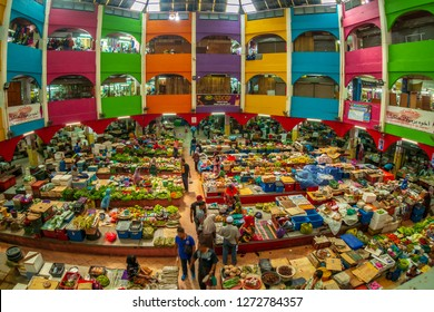 Kelantan, Malaysia -September 2018: A fisheye view of Siti Khadijah market, a famous indoor market for tourists and locals located in the city of Kota Bahru.