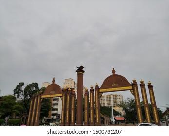 Kelantan , Malaysia - September 2019 : View of Sultan Ismail Petra Archway or Pintu Gerbang Dataran Rehal is located in the heart of Kota Bharu city.