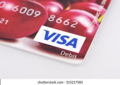 KELANTAN,MALAYSIA - SEPTEMBER 02, 2015 : Close up of Visa Card On White Background