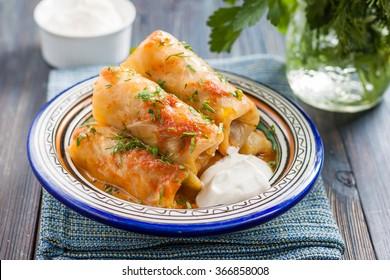 kelem dolmasi - Stuffed cabbage leaves.Cabbage dolma,popular all year round in Azerbaijan