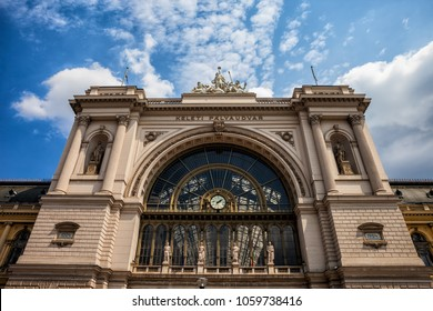 Keleti Railway Station in city of Budapest, Hungary, eclectic style 19th century building.