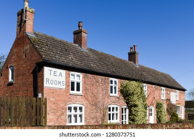 Kelham,Nottinghamshire,UK. April 05th 2018.The old tea rooms and post office in the north Nottinghamshire village bathed in spring summer sunshine after days of rain.
