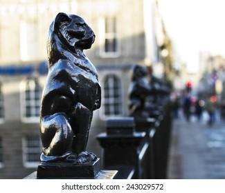 Kelly's Cats (cast iron leopard), Union Street Bridge, Aberdeen, Scotland