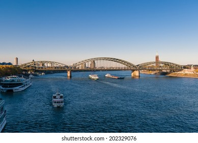 KELN, GERMANY - OCTOBER 26: Ships on Rein river on October 26, 2011  in Keln, Germany