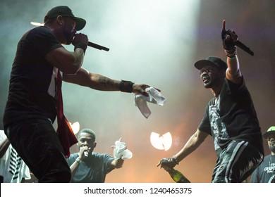 Kelowna, BC / Canada - July 28, 2018: American hip hop group Wu-Tang performing at Center Of Gravity in Kelowna, BC