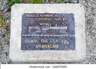 KELOWNA, BRITISH COLUMBIA, CANADA, JUNE 23, 2016: Sign of Train trestle on the Kettle Valley Railway near Kelowna, British Columbia, Canada