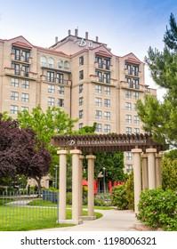 KELOWNA, BRITISH COLUMBIA, CANADA - JUNE 2018: Entrance to the Delta Grand Okanagn Resort in Kelowna, British Columbia, Canada.