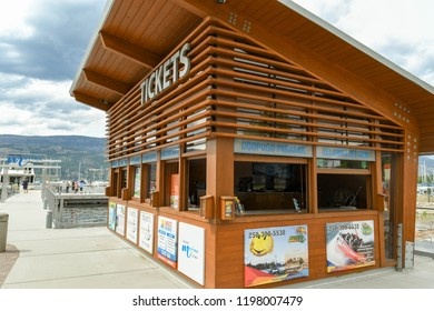 KELOWNA, BRITISH COLUMBIA, CANADA - JUNE 2018: Ticket office for Kelowna Cruises on the harbor side in Kelowna, British Columbia, Canada.