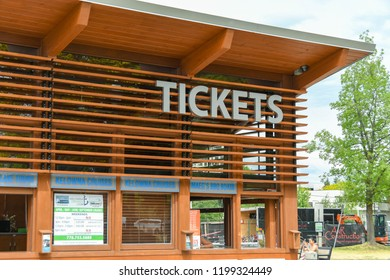 KELOWNA, BRITISH COLUMBIA, CANADA - JUNE 2018: Ticket office for Kelowna Cruises on the harbor side in Kelowna, British Columbia, Canada.