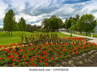 KELOWNA, BRITISH COLUMBIA, CANADA - JUNE 2018: Flowerbeds in a public park near the centre of Kelowna, BC.