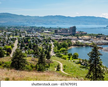 Kelowna, British Columbia, Canada, on the Okanagan lake, city view from mountain overlook