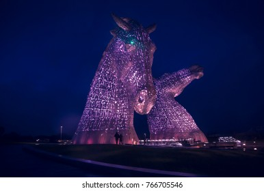 The Kelpies in Falkirk, Scotland - November 2015 The light coming from inside rotates between several hues
