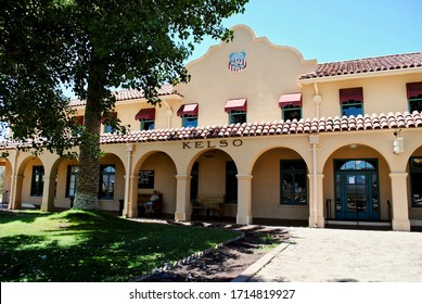 Kelso, CA - 2017: The Kelso Depot, restaurant and hotel, is now the National Park Service Mojave National Preserve Visitors Center. Example of a Mission and Spanish Colonial Revival architecture.