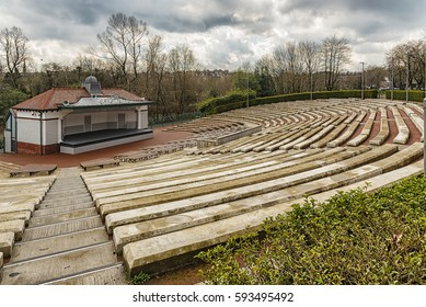 The Kelvingrove park bandstand situated in the west end area of Glasgow, Scotland.