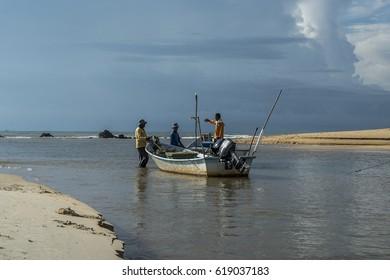 Kemasik, Terengganu, circa April 2017. Fishermen getting ready to go fishing.