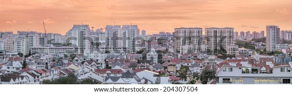 Kembangan Private and Public Residential Area in Singapore at Early Morning Dawn Panorama