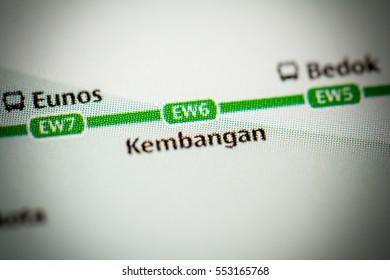 Kembangan Station. Singapore Metro map.