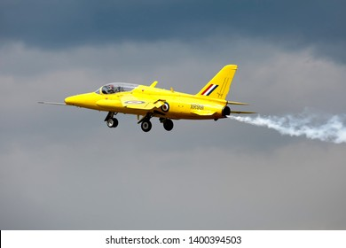 Kemble, Gloucestershire / UK - June 15 2008: Former RAF Folland Gnat XR991/G-MOUR (XS102) which is painted in the colour scheme of the 1960's RAF Display Team The 'Yellowjacks'