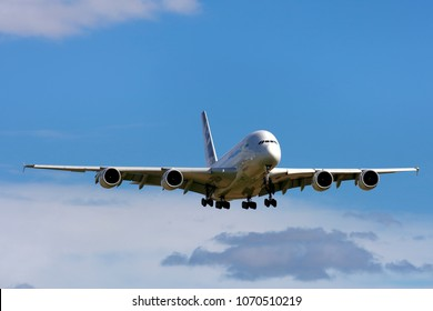 Kemble, Gloucestershire, UK - September 18, 2010: An Airbus A380 prototype flying in a blue sky