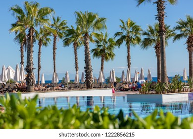 Kemer, Antalya, Turkey - 10/28/2018; Sherwood Exclusive Kemer,  beautiful, exclusive hotel, swimming pools, view of the Mediterranean Sea
