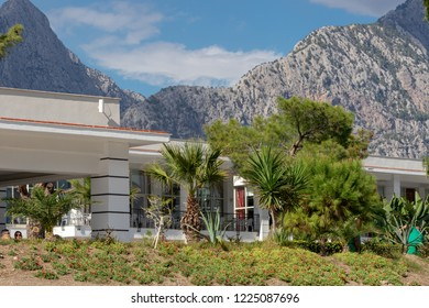 Kemer, Antalya, Turkey - 10/28/2018; Sherwood Exclusive Kemer,  white, modern buildings on the background of the Taurus Mountains, Turkey