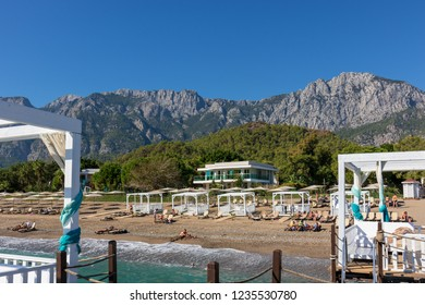 Kemer, Antalya, Turkey - 10/28/2018; Sherwood Exclusive Kemer. View from the sea to the beach and the Taurus Mountains