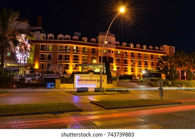 KEMER, ANTALYA, TURKEY - OCTOBER 2, 2017: Rose Residence Beach hotel, long exposure shot through Ataturk boulevard.