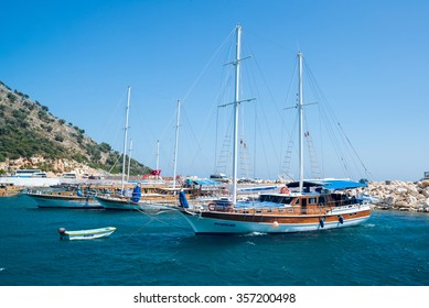 Kemer, Turkey - 06.20.2014. Pleasure yacht near the coast of Turkey