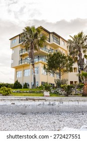KEMER, TURKEY - APR 15, 2015: Touristic hotel in Kemer, Turkey. Kemer is a popular touristic destination on the Mediterranean sea coast