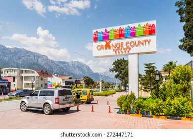 KEMER, TURKEY - APR 15, 2015: Orange county hotel in Kemer, Turkey. Kemer is a popular touristic destination on the Mediterranean sea coast
